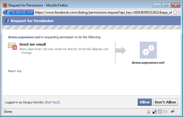 Adding Facebook Connect functionality to your application