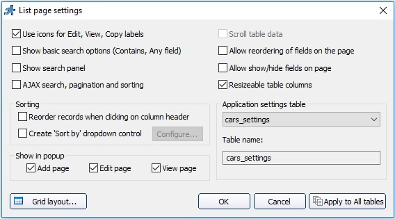 List page settings / Click actions