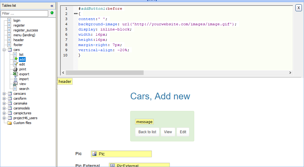 Customizing CSS