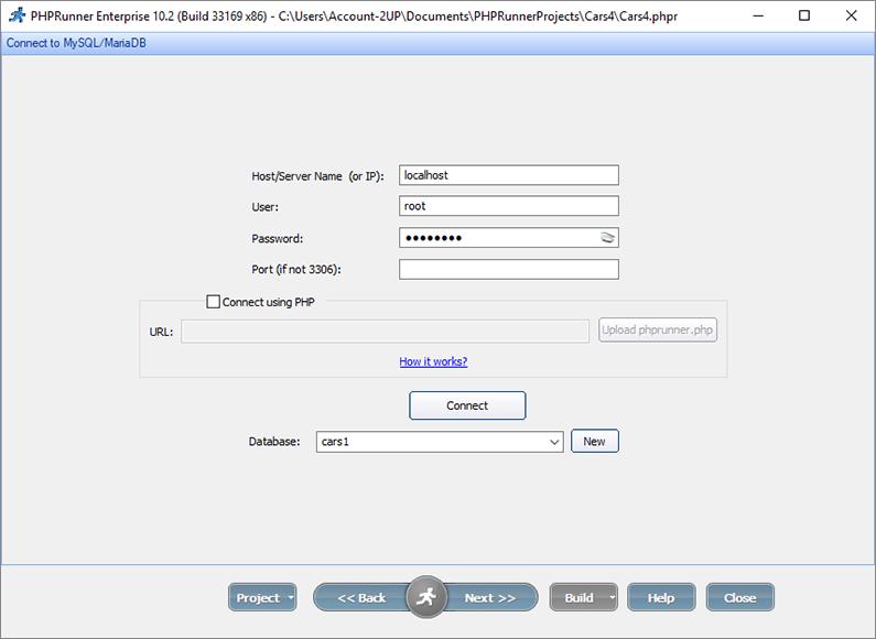 Connecting to MySQL database